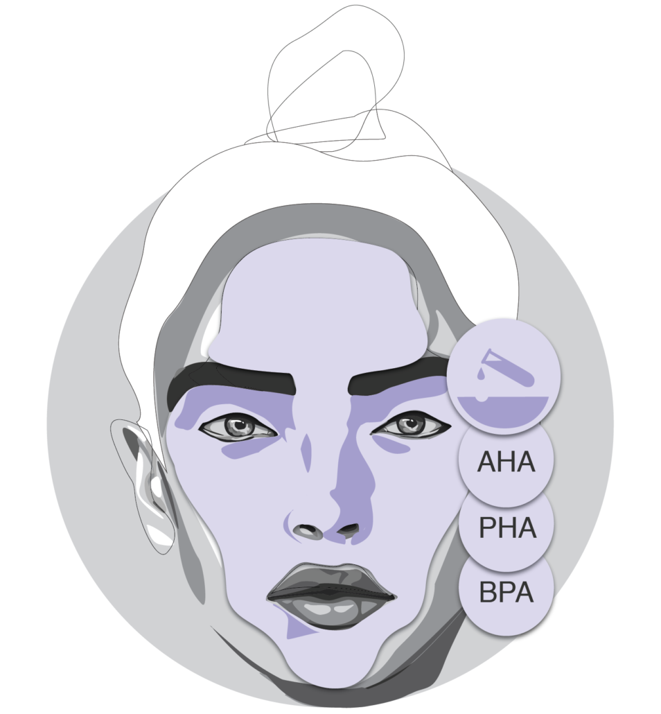 Illustration von chemischen und Fruchsäure-Peelings wie AHA PHA BPA
